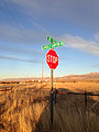 2014-11-11 16 09 38 Stop sign and street signs at the intersection of Lamoille Canyon Road and Nevada State Route 227 (Lamoille Highway) near Lamoille, Nevada.JPG