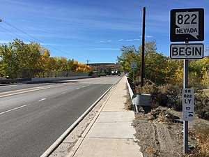 Nevada State Route 822 - View at the east end of SR 822 looking westbound. The bridge over the Carson River is directly ahead, and the west end of the route at US 50 is also visible in the distance