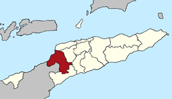 Map of East Timor highlighting Bobonaro District