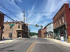 2016-06-18 15 25 01 View north along Maryland State Route 36 (Main Street) at Douglas Avenue in Lonaconing, Allegany County, Maryland.jpg