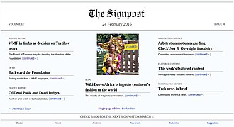The Signpost - Cover of The Signpost (February 24, 2016)