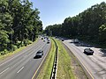 2019-07-12 10 08 42 View east along Interstate 495 (Capital Beltway) from the overpass for the Bethesda Trolley Trail on the edge of Bethesda and North Bethesda in Montgomery County, Maryland.jpg