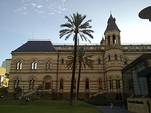 South Australian Museum - The Mortlock Library, part of the State Library of South Australia, forms the west side of the courtyard at the front of the South Australian Museum