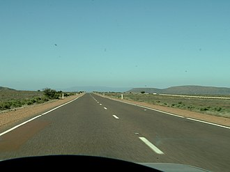 Eyre Highway - Driving north along Eyre Highway between Iron Knob and Port Augusta