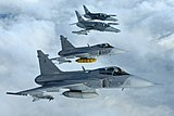2 x Saab JAS-39 Gripen and 2 x Aero L-159 of the Czech Air Force, based at AFB Čáslav, inflight.jpg