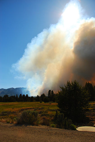 South Lake Tahoe, California - Flames approach at 4:42pm 24 June