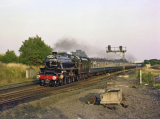 Scarborough Spa Express - Black five 5305 approaching Garforth station, 1980s