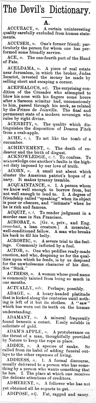 "The Devil's Dictionary - The first ""The Devil's Dictionary"" column by Ambrose Bierce, from The Wasp, 5 March 1881, vol. 6 no. 240, page 149."