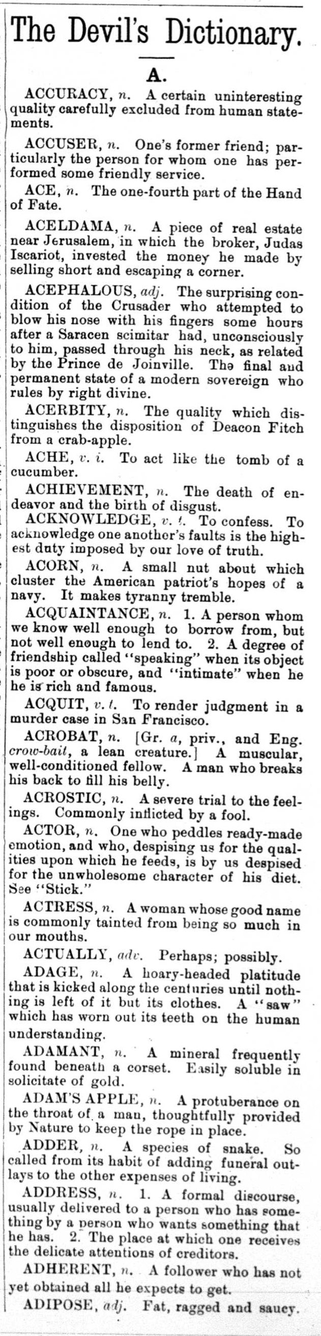 5 March 1881 first The Devil's Dictionary column by Ambrose Bierce