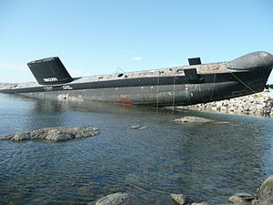 HMCS Onondaga (S73) - Following the second attempt to pull Onondaga out of the water, the submarine rolled off the marine railway