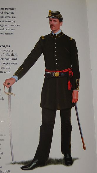 5th Georgia Volunteer Infantry - This officer from Company A is simply and elegantly uniformed in tunic, trousers and kepi. The French cuffs on his sleeves are noteworthy, and the fact that his rank insignia is worn on his shoulders, a detail that would change when the new Confederate rank system was adopted.
