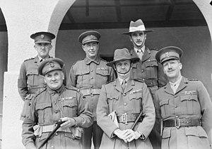 Arthur Samuel Allen - Major General Iven Mackay and his senior officers. Brigadier Allen is in the front row, at left.