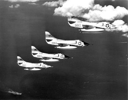 Douglas A-4 Skyhawks from the USS Essex flying sorties over combat areas during the invasion A4D-2 Skyhawks of VA-34 in flight over USS Essex (CVS-9) during the Bay of Pigs Invasion in April 1961.jpg