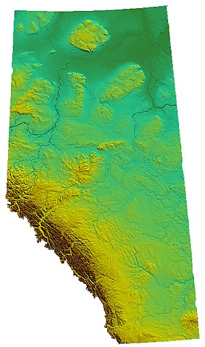 Geography of Alberta - Image: AB Relief