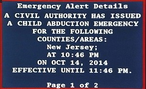 AMBER Alert - AMBER Alert displayed on cable TV by the Emergency Alert System.  Generated via a R189 One-Net EAS device used by a NJ cable system.