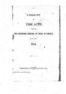 A Collection of the Acts passed by the Governor General of India in Council, 1914.djvu