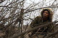 A Japan Ground Self-Defense Force (JGSDF) soldier conceals his position with bushes and tree branches during sniper training Feb. 10, 2014, at Marine Corps Base Camp Pendleton, Calif., as part of exercise Iron 140210-M-ZH987-100.jpg