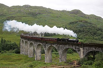 """LNER Thompson/Peppercorn Class K1 - No. 62005 """"Lord of the Isles"""" crossing the Glenfinnan Viaduct on the Scottish Adventure, July 2012"""