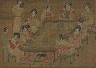 Lady-in-waiting - Chinese Tang dynasty court ladies on A Palace Concert painting.