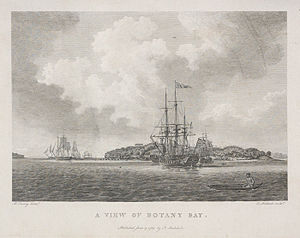 Journals of the First Fleet - The Fleet sailing into Botany Bay, from the diary of Arthur Phillip