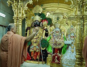 Jay Sadguru Swami - Aarti ritual being conducted at the temple in Vadtal by an ascetic