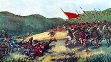 Painting of infantry about to face a cavalry charge