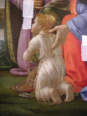 Adoration of the Magi (Ospedale degli Innocenti) - Detail of one of the innocenti.