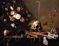 Adriaen van Utrecht- Vanitas - Still Life with Bouquet and Skull.JPG