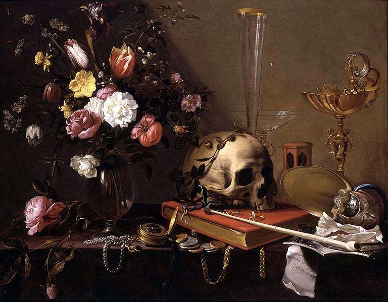Datei:Adriaen van Utrecht- Vanitas - Still Life with Bouquet and Skull.JPG