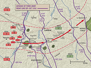 Military history of New Zealand during World War I -  The advance of the New Zealand Division – part of the Third Army's IV Corps – during the 100 Days Offensive.