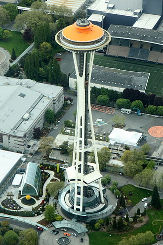Space Needle - The Space Needle, seen here in May 2012, was painted Galaxy Gold for its 50th anniversary celebration.
