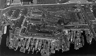 Federal Shipbuilding and Drydock Company - Aerial view of Federal Shipbuilding, Kearny, NJ in May 1945.