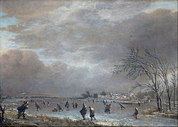 Aert van der Neer: Winter Landscape with Skaters on a Frozen River