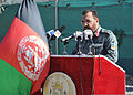 Afghan National Police Maj. Gen. Salim Ehsas, the commander of the 404th Maiwand District, speaks to 71 graduates of officer candidate school and guests during a graduation ceremony at the Kandahar training 120129-F-FR276-049.jpg