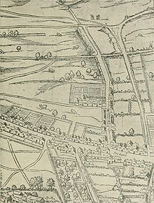 Layout of Gray's Inn, taken from a birds-eye view, showing the Inn as a single walled compound still surrounded by fields.