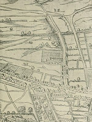 Woodcut map of London - Detail from the map showing Gray's Inn