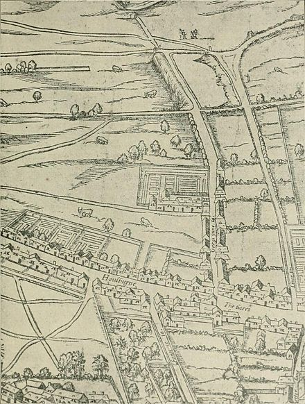 "The Inn's buildings and walks, in a compound on the left hand side of ""Greys ynne la."", shown on the ""Woodcut"" map of London of the 1560s Agas Gray's Inn.jpg"