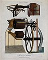 Agriculture; two threshing machines. Coloured engraving by J Wellcome V0025705ER.jpg
