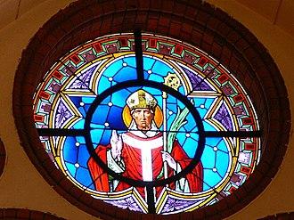 Maximilian of Lorch - Depiction of Maximilian of Lorch on a vitrail of the parish church in Aigen, Upper Austria