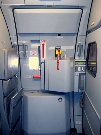 Jump seat - Airbus A319 door showing folded up jump seat on the left.