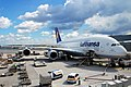 Airbus A380-800 of Lufthansa in Frankfurt Germany - Aircraft ground handling at FRA EDDF.jpg