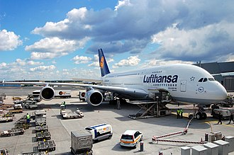 Aircraft ground handling - Aircraft ground handling of a Lufthansa Airbus A380-841 at Frankfurt Airport in Germany.