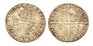 Albert I, Duke of Bavaria - Silver groat or 'voetdrager', struck under Albert of Bavaria.  Mintplace: Dordrecht 1389-1404.