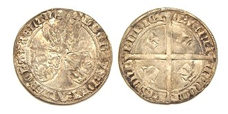 Albert I, Duke of Bavaria - Silver groat or 'voetdrager', struck under Albert of Bavaria.  Mintplace: Dordrecht 1389-1404.