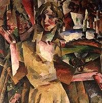 Aleksandra Khokhlova by Aristarkh Lentulov 1919 (cropped).jpg