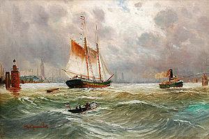 Alfred Jensen - Hamburger Hafen mit Segler.jpg