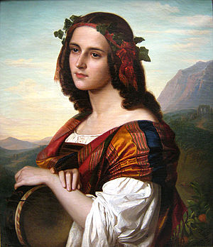 Amalie Bensinger - Italian Girl with Tambourine