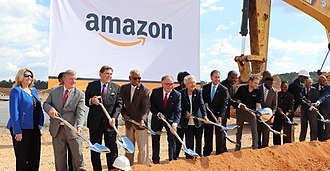 The groundbreaking of the Amazon fulfillment center in Bessemer in 2018. Amazon groundbreaking Bessemer.jpg