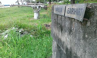 Lae Airfield - Amelia Earhart monument situated near old airfield. Note the Japanese anti-aircraft gun. Bronze plaque since stolen. Photo taken 7 January 2014