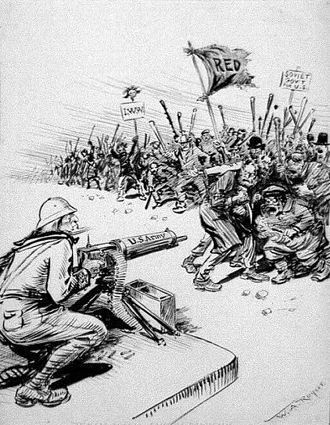 "United States home front during World War I - 1919 New York Herald cartoon portraying ""reds"" and IWW members as a violent mob held back by threat of a US Army machine gun"